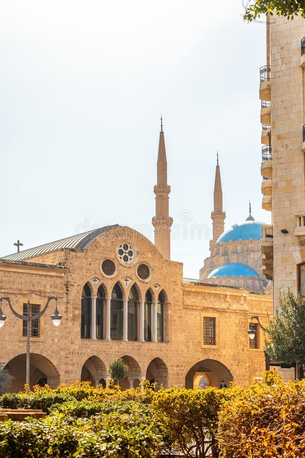 Saint Georges Maronite cathedral and Mohammad Al-Amin Mosque in the background in the center of Beirut, Lebanon. Amine, ancient, arab, arabesque, arabic royalty free stock photos