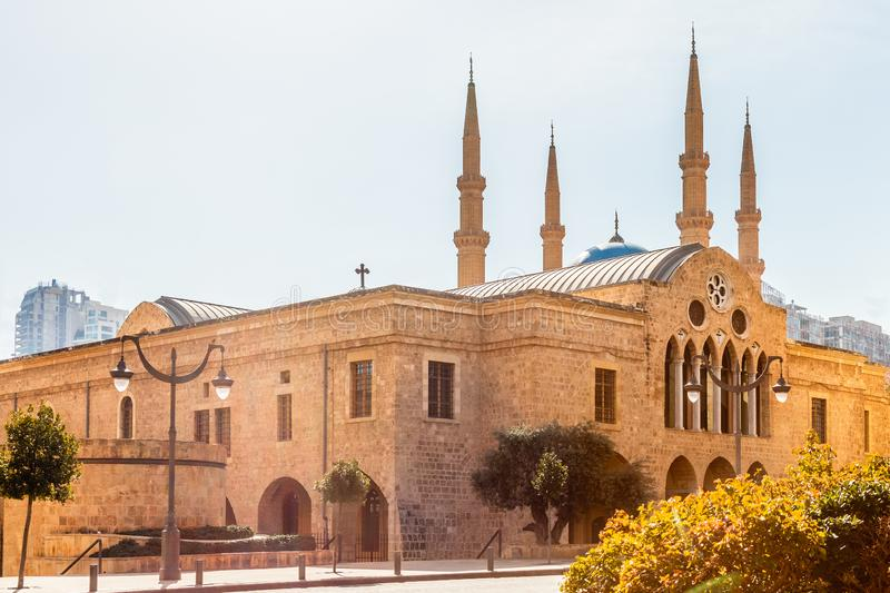 Saint Georges Maronite cathedral and Mohammad Al-Amin Mosque in the background in the center of Beirut, Lebanon. Amine, ancient, arab, arabesque, arabic royalty free stock image