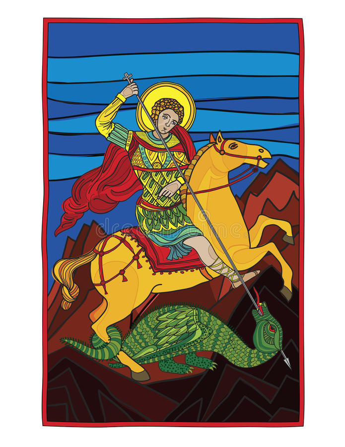 Download Saint Gheorghe Killing The Dragon Stock Vector - Illustration: 17282469