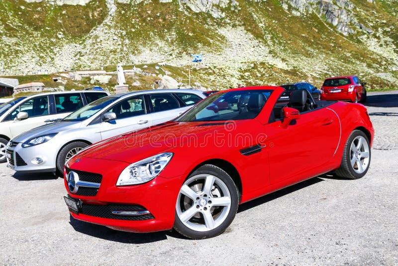 Mercedes-Benz SLK-class. Saint Gotthard Pass, Switzerland - September 13, 2019: Red convertible car Mercedes-Benz SLK-class R172 at the countryside stock images