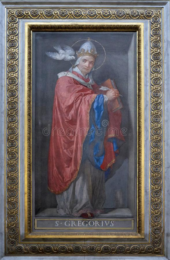 Saint Gregory the Great. Painting in Santa Maria in Aquiro church in Rome, Italy stock images