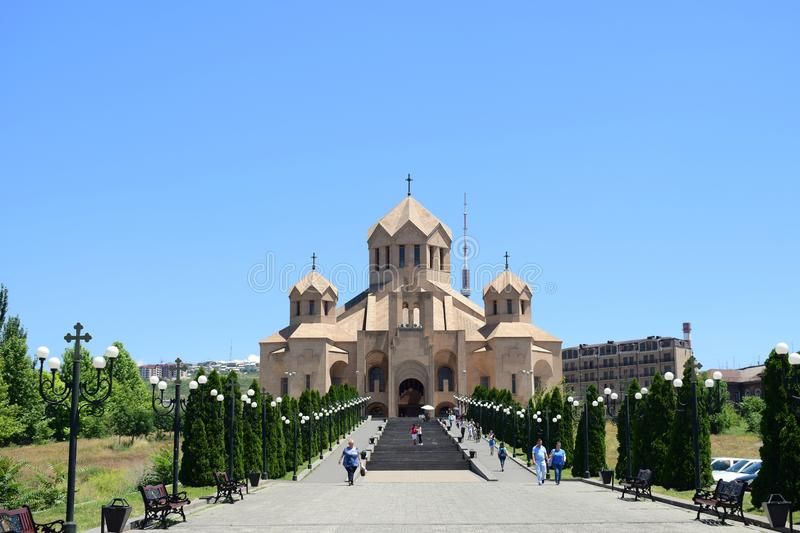 Saint Gregory the Illuminator Cathedral, Yerevan, Armenia. 2018 New photo of Saint Gregory the Illuminator Cathedral, Yerevan, Armenia In a sunny day with blue royalty free stock photos