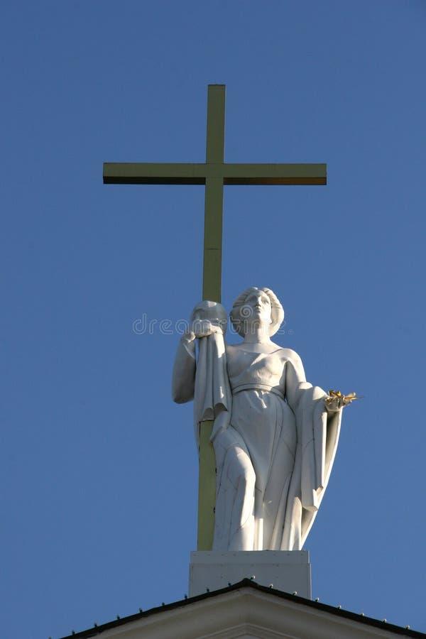 Saint Helena com cruz dourada imagens de stock