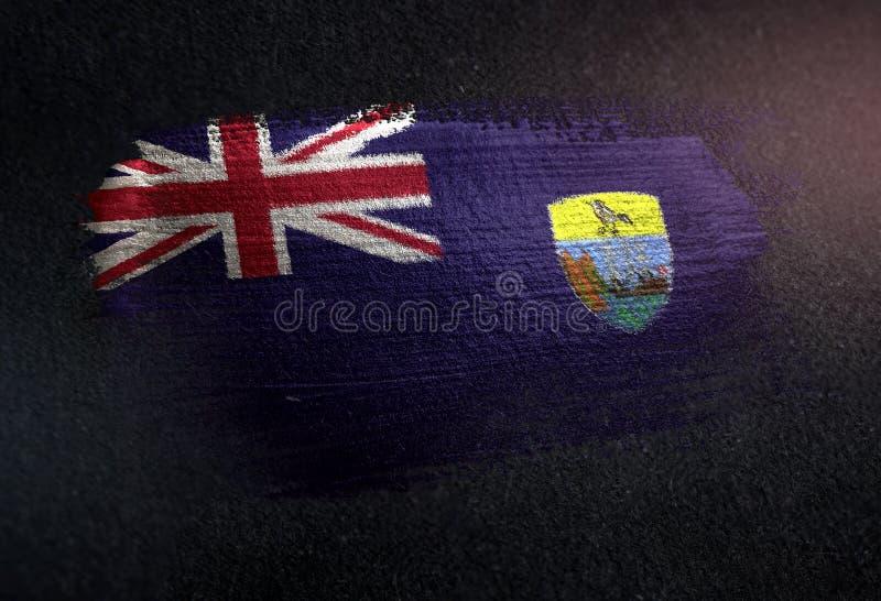 Saint Helena Flag Made da pintura metálica da escova na obscuridade Wa do Grunge fotos de stock