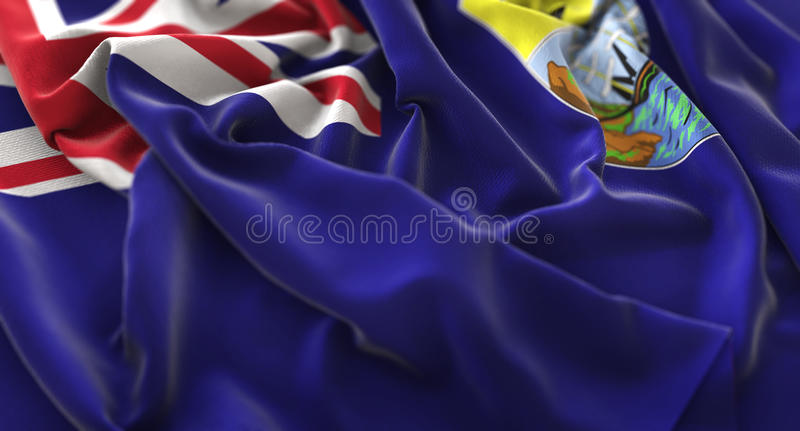 Saint Helena Flag Ruffled Beautifully Waving Macro Close-Up Shot. Studio royalty free stock photography