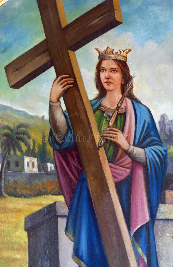 Saint Helena. Painting on the church altar stock images