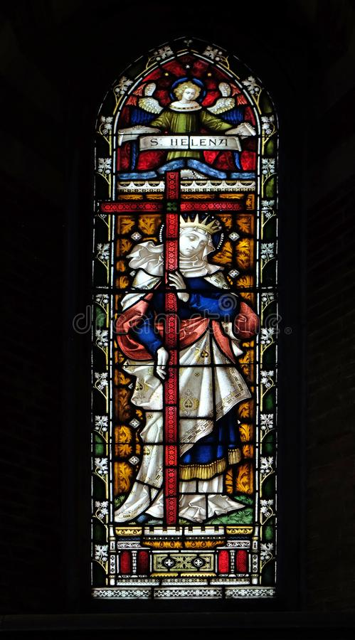 Saint Helena. Stained glass of All Saints` Anglican Church, Rome, Italy royalty free stock photos