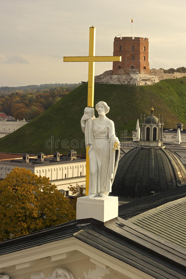 Saint Helena sculpture on the Cathedral of Vilnius in Lithuania. In autumn royalty free stock photos
