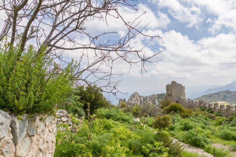Saint Hilarion Castle, Kyrenia, Cyprus. The Saint Hilarion Castle lies on the Kyrenia mountain range, in Cyprus near Kyrenia. This location provided the castle royalty free stock photos
