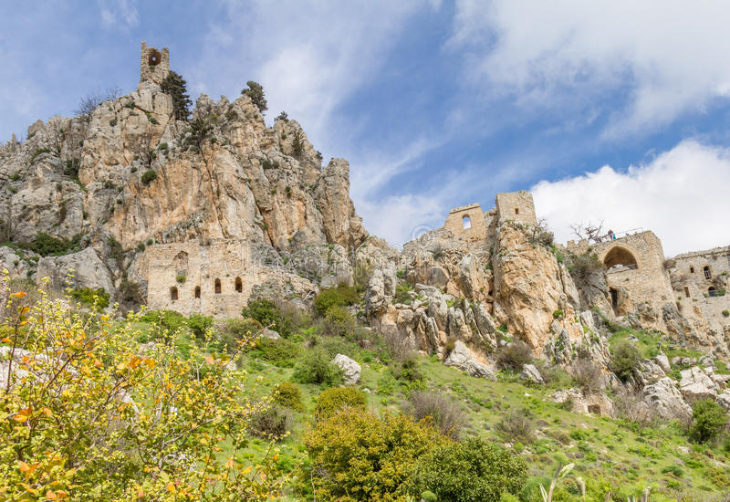 Saint Hilarion Castle, Kyrenia, Cyprus. The Saint Hilarion Castle lies on the Kyrenia mountain range, in Cyprus near Kyrenia. This location provided the castle royalty free stock image