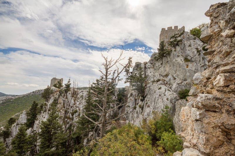 Saint Hilarion Castle, Kyrenia, Cyprus. The Saint Hilarion Castle lies on the Kyrenia mountain range, in Cyprus near Kyrenia. This location provided the castle stock photography