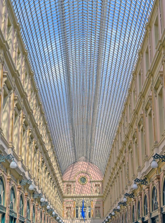 The Saint-Hubert Royal Galleries in Brussels, Belgium. The Saint-Hubert Royal Galleries are an ensemble of glazed shopping arcades in Brussels, Belgium royalty free stock photography