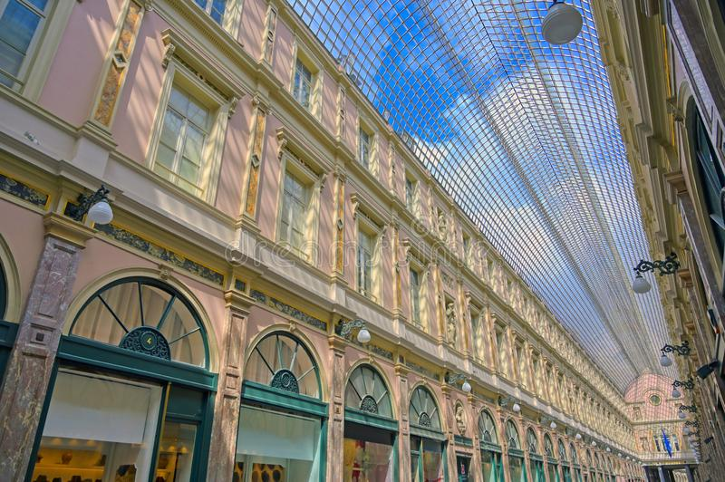 The Saint-Hubert Royal Galleries in Brussels, Belgium. The Saint-Hubert Royal Galleries are an ensemble of glazed shopping arcades in Brussels, Belgium stock photos