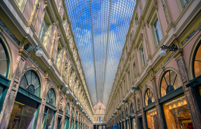 The Saint-Hubert Royal Galleries in Brussels, Belgium. The Saint-Hubert Royal Galleries are an ensemble of glazed shopping arcades in Brussels, Belgium stock photo