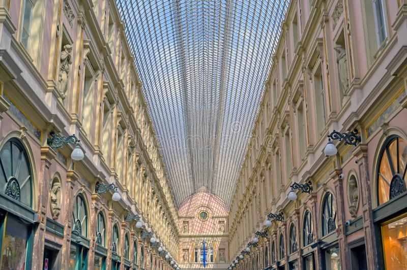 The Saint-Hubert Royal Galleries in Brussels, Belgium. The Saint-Hubert Royal Galleries are an ensemble of glazed shopping arcades in Brussels, Belgium royalty free stock images