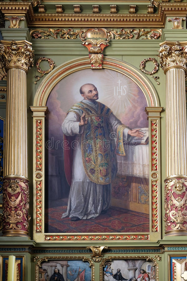 Saint Ignatius of Loyola. Altarpiece in the Basilica of the Sacred Heart of Jesus in Zagreb, Croatia royalty free stock photography