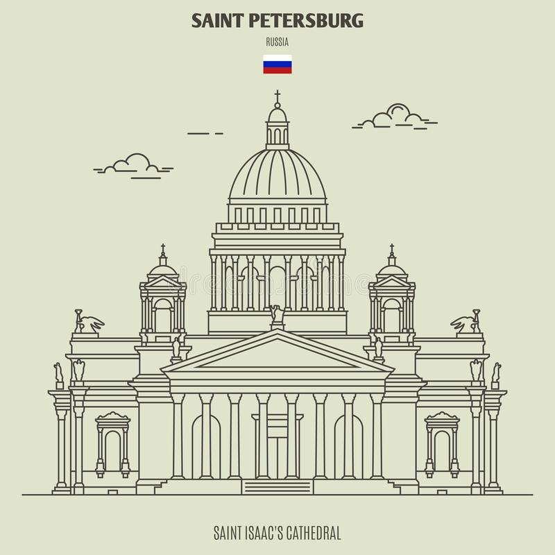 Saint Isaac Cathedral dans le St Petersbourg, Russie Ic?ne de point de rep?re illustration de vecteur