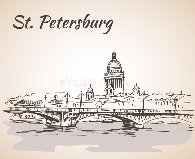 Saint Isaac Cathedral e ponte em St Petersburg, ilustração royalty free