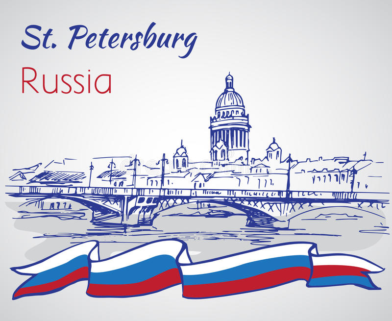 Saint Isaac Cathedral em St Petersburg, Rússia SK ilustração stock