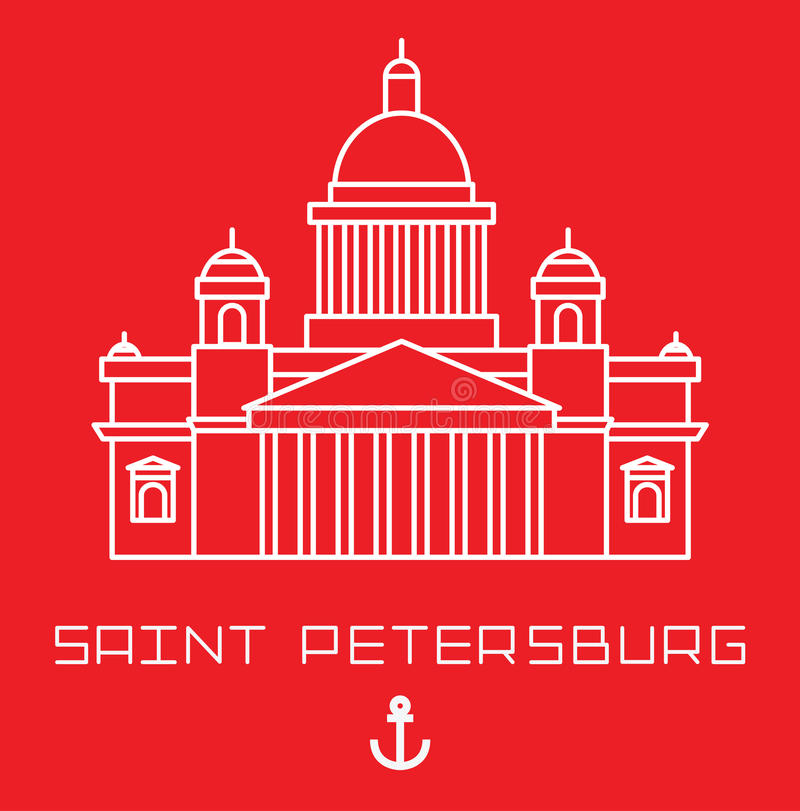 Saint Isaac Cathedral in Saint Petersburg Russia. Modern linear minimalist icon. Line sightseeing concept royalty free illustration