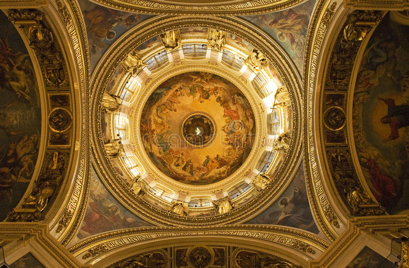 Saint Isaac`s Cathedral. In St Petersburg, Russia, iterior - fantastic plafond inside royalty free stock images