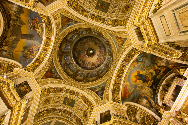 Saint Isaac's Cathedral. In St Petersburg, Russia, Eastern Europe, iterior - fantastic plafond inside stock images