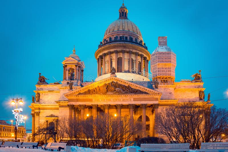 Saint Isaac`s Cathedral Isaakievskiy Sobor in night in Saint P. Etersburg, Russia royalty free stock photos
