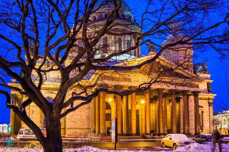 Saint Isaac`s Cathedral Isaakievskiy Sobor in night in Saint P. Etersburg, Russia royalty free stock image