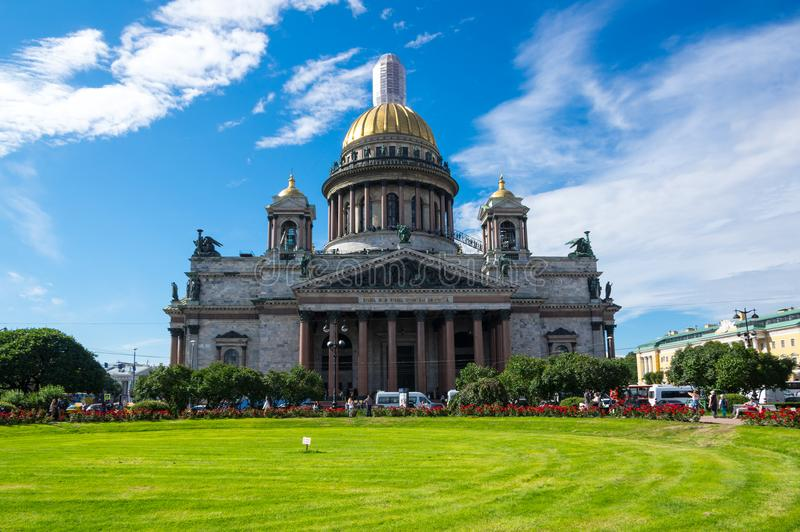 Saint Isaac`s Cathedral. Or Isaakievskiy Sobor in Saint Petersburg, Russia, is the largest Russian Orthodox cathedral in the city royalty free stock images