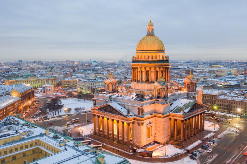 Saint Isaac`s Cathedral in Saint Petersburg Aerial View stock images