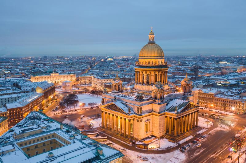 Saint Isaac`s Cathedral in Saint Petersburg Aerial View stock image