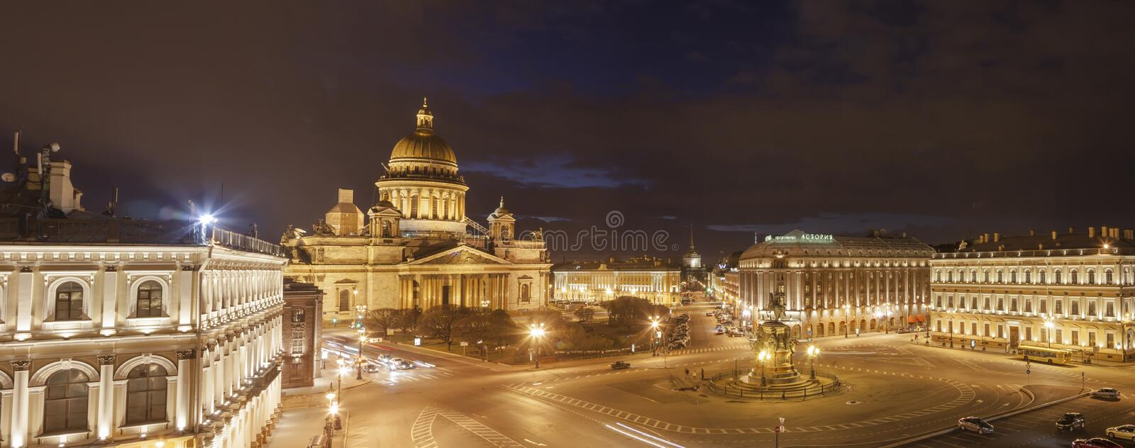 Saint Isaac's Cathedral place night panoramic view stock photo