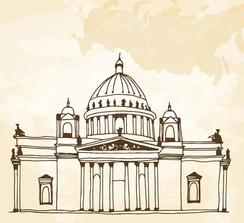 Saint Isaac`s Cathedral Sobor in Saint Petersburg, Russia drawing on a beige background vector illustration