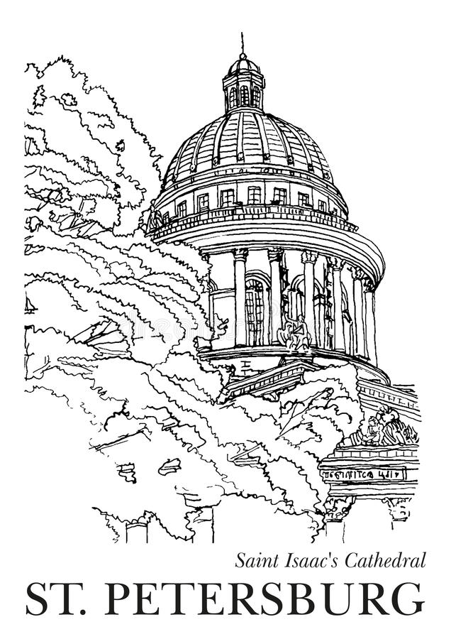 ST. PETERSBURG, RUSSIA: Saint Isaac's Cathedral, Hand drawn sketch on paper, vector royalty free illustration