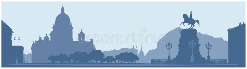 Saint Isaac`s Square in Saint Petersburg stock illustration