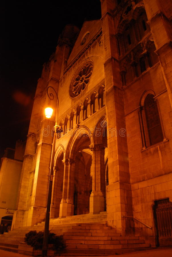 Saint Jacques church in Pau. Night view of the Saint Jacques church in Pau, before the refurbishment of the spires. It is located near the Courthouse of Pau, in royalty free stock image