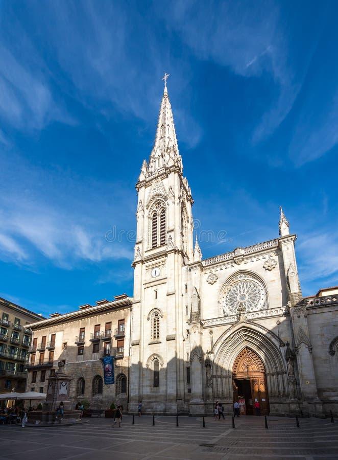 Saint James katedra de Santiago w Bilbao lub Catedral, Hiszpania zdjęcie stock
