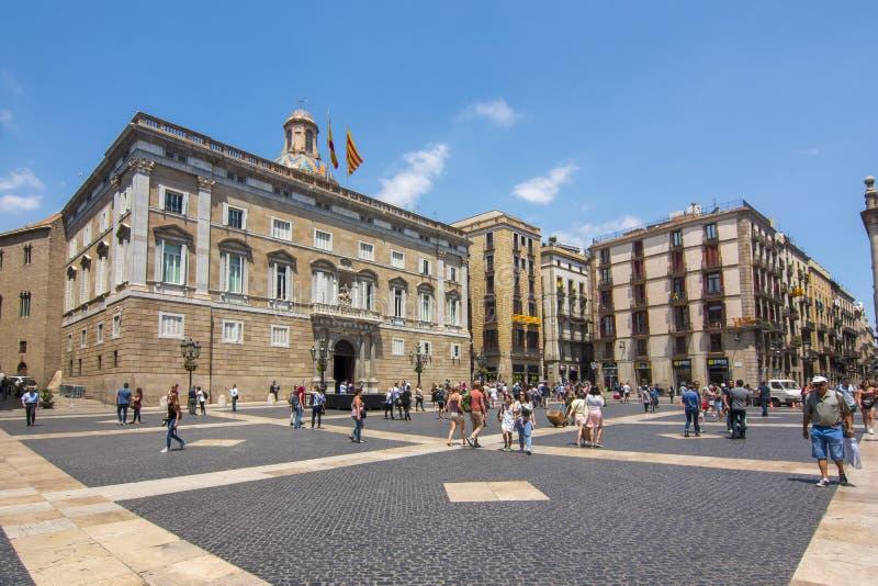 Saint James square Placa de Sant Jaume in center of Gothic quarter, Barcelona, Spain royalty free stock photography
