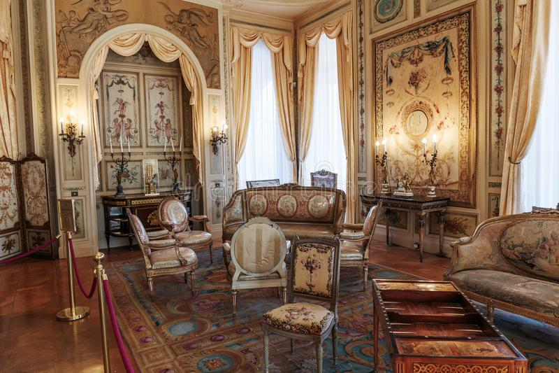 Villa Ephrussi de Rothschild interior. SAINT JEAN CAP FERRAT, FRANCE - OCTOBER 29, 2014: Villa Ephrussi de Rothschild interior royalty free stock photography