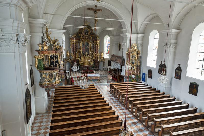 Saint John the Baptist church interior in Haus, Styria, Austria. stock images
