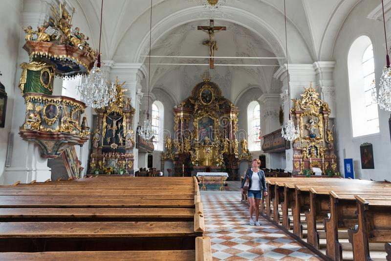 Saint John the Baptist church interior in Haus, Styria, Austria. stock image