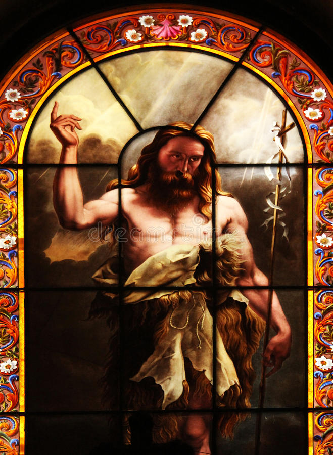 Saint John the Baptist. Stained glass, St. Elizabeth of Hungary church, Paris stock photography