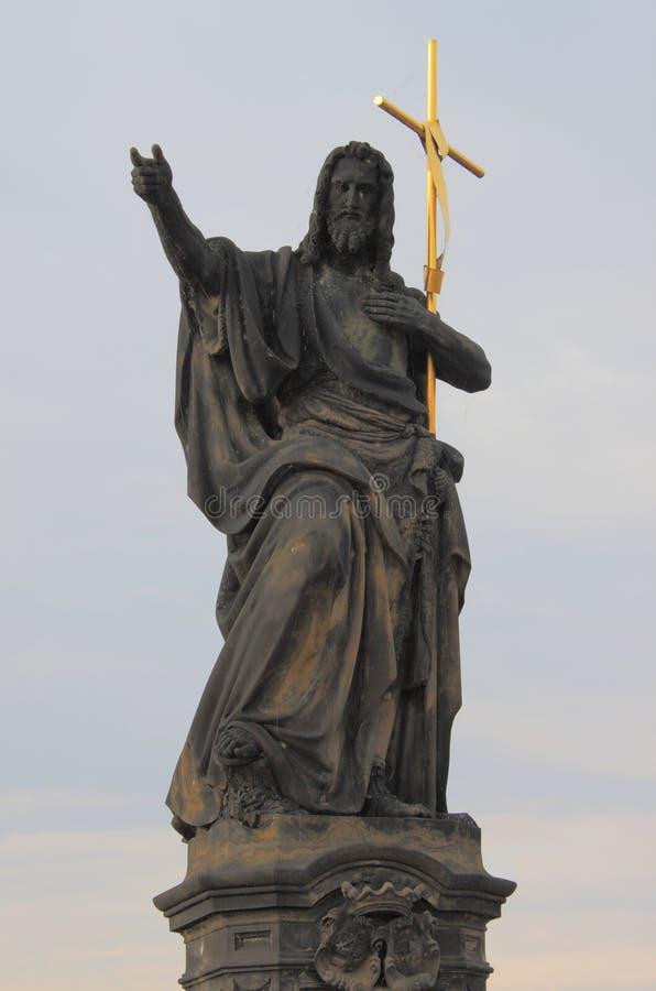Saint John the Baptist statue stock photo