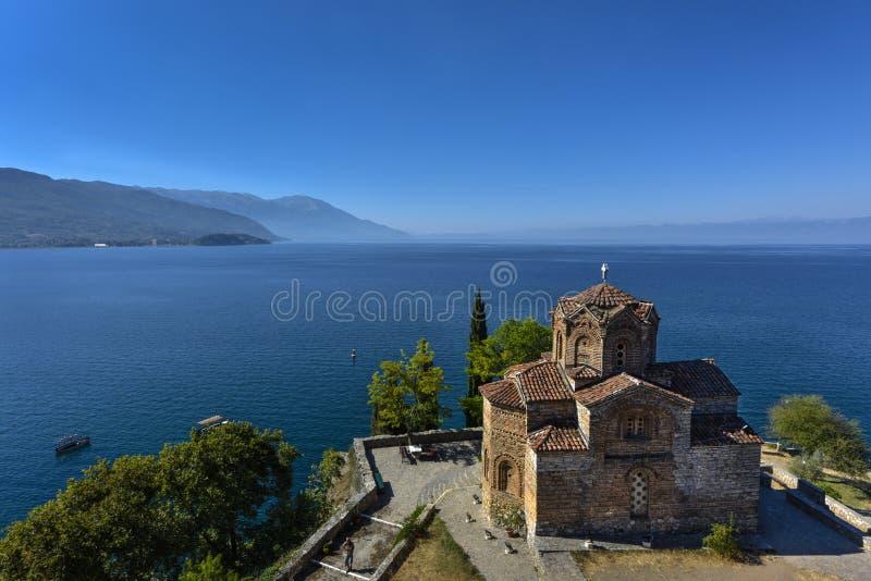 Saint John - Kaneo, igreja ortodoxa em Ohrid igualmente chamou Saint Jovan Kaneo de Sveti, Macedônia imagens de stock