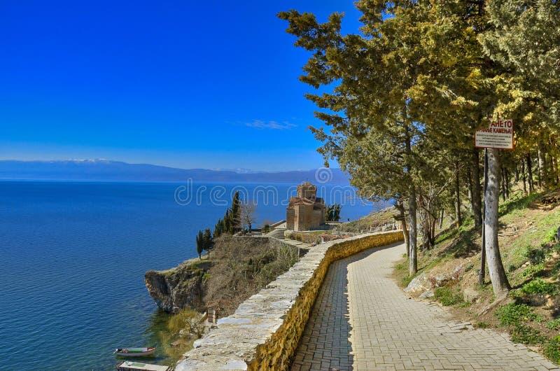 Kaneo - Ohrid Macedonia. Saint John the Theologian, Kaneo or simply Saint John at Kaneo is a Macedonian Orthodox church situated on the cliff over Kaneo Beach stock image
