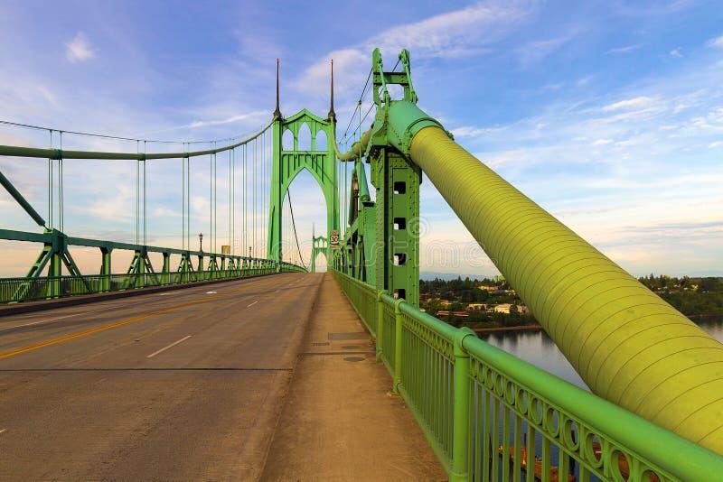 Saint Johns Bridge Pedestrian Sidewalk in Portland Oregon royalty free stock photos