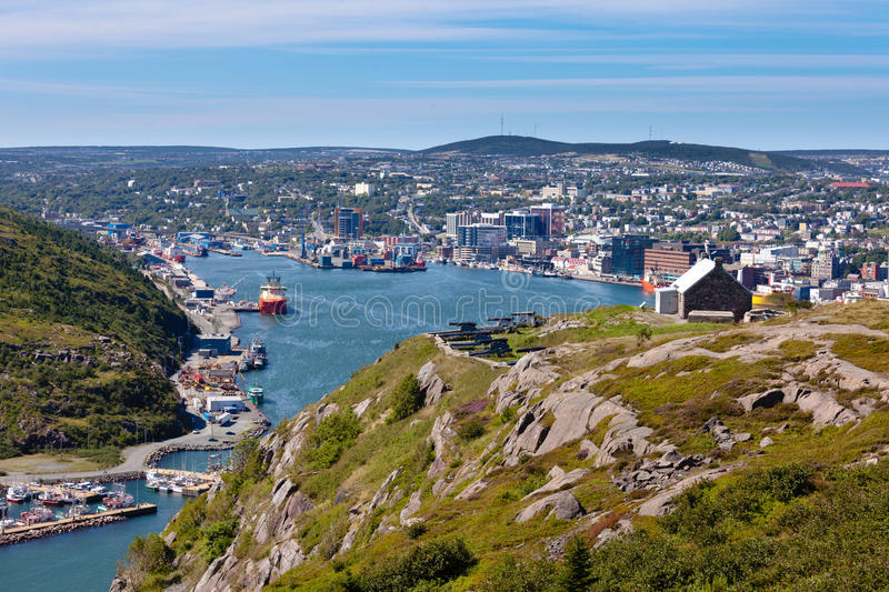 Saint Johns downtown harbour Signal Hill NL Canada royalty free stock images