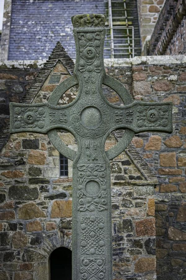 Vertical Shot of Saint Johns High Cross at Iona Abbey stock photos