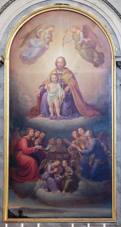 Saint Joseph durch Josef Schonmann, Altarbild in der Kirche Sant 'Antonio Nuovo in Triest lizenzfreie stockbilder