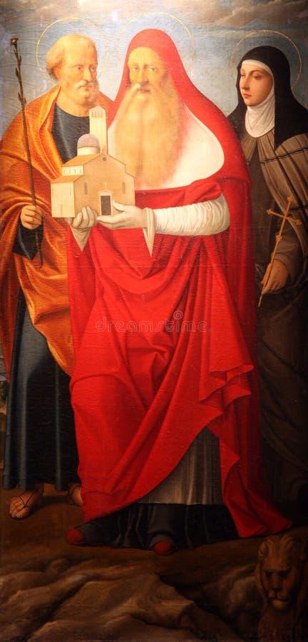 Saint Joseph, Heilige Jerome en Heilige Elizabeth van Hongarije royalty-vrije stock afbeelding